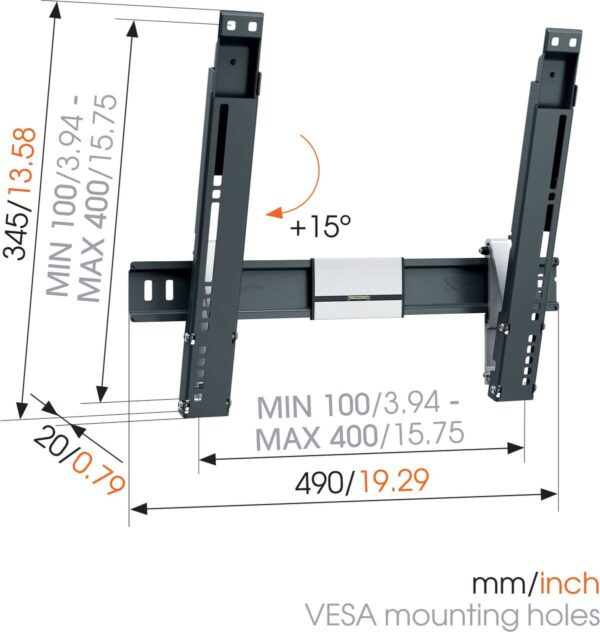 THIN 415 ExtraThin Tilting TV Wall Mount dimensions