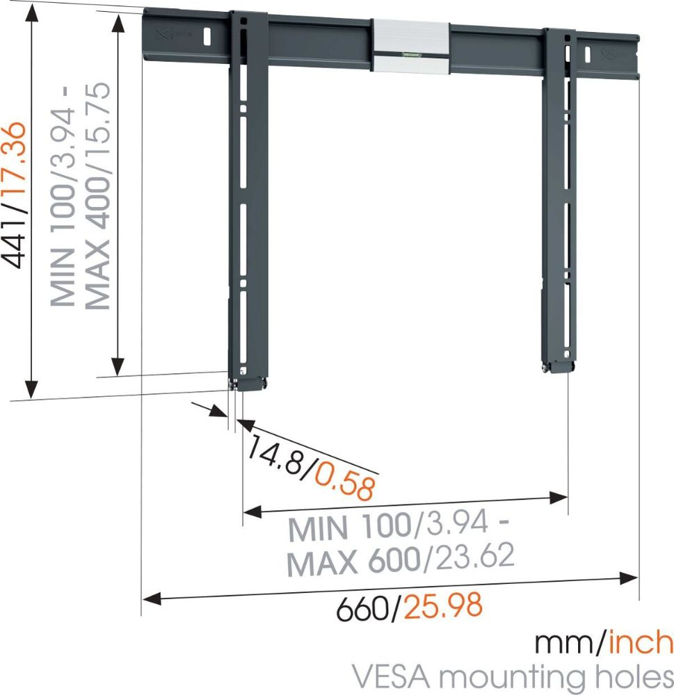 THIN 505 ExtraThin Fixed TV Wall Mount_dimensions