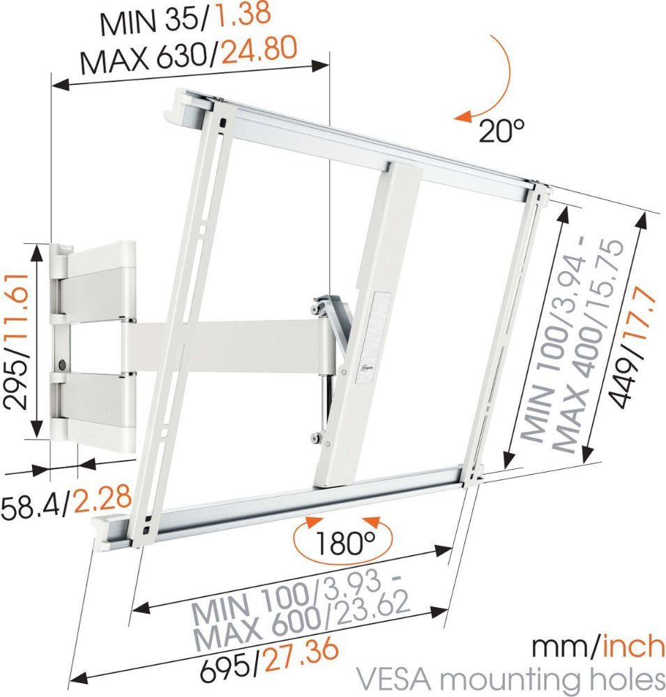 THIN 545 ExtraThin Full-Motion TV Wall Mount white dimensions