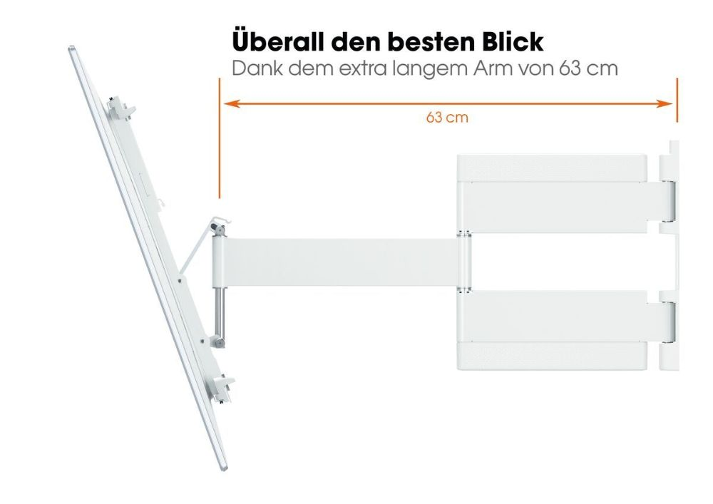 THIN 545 ExtraThin Full-Motion TV Wall Mount white view
