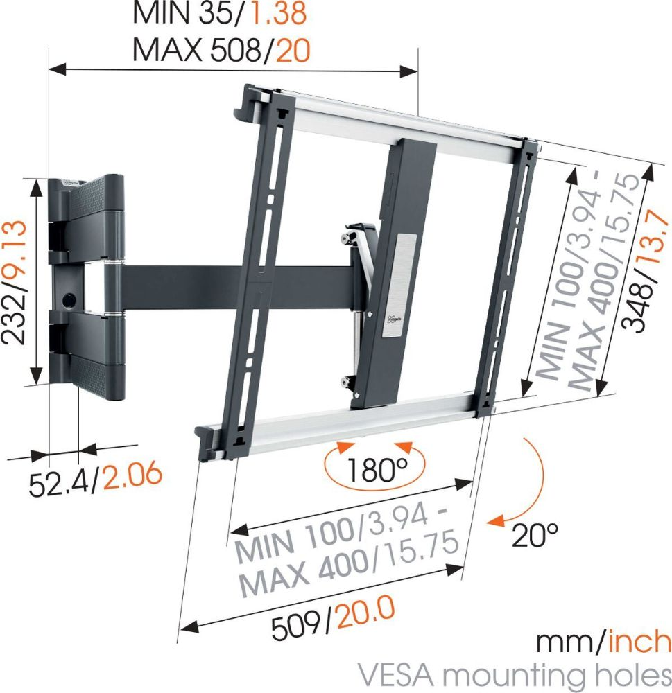 Vogel's THIN 445 ExtraThin Full-Motion TV Wall Mount-dimensions