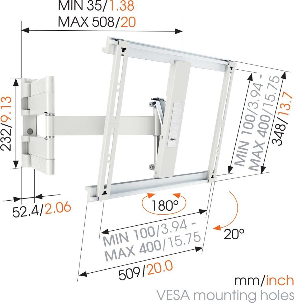 Vogel's THIN 445 ExtraThin Full-Motion TV Wall Mount (white) dimensions