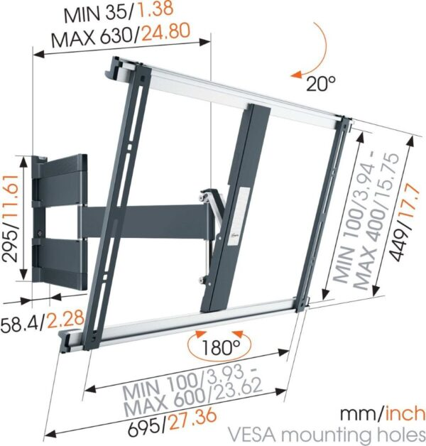 Vogel's THIN 545 ExtraThin Full-Motion TV Wall Mount dimensions