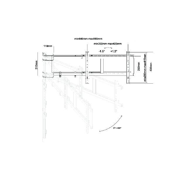 "Lithe Audio Remote Control Motorised 90 Deg Wall Mount 32-60"".7"