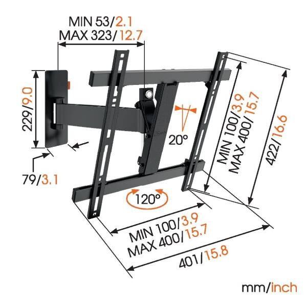 W52070 Βάση Τοίχου Τηλεόρασης με Πλήρης κίνηση (μαύρη)3