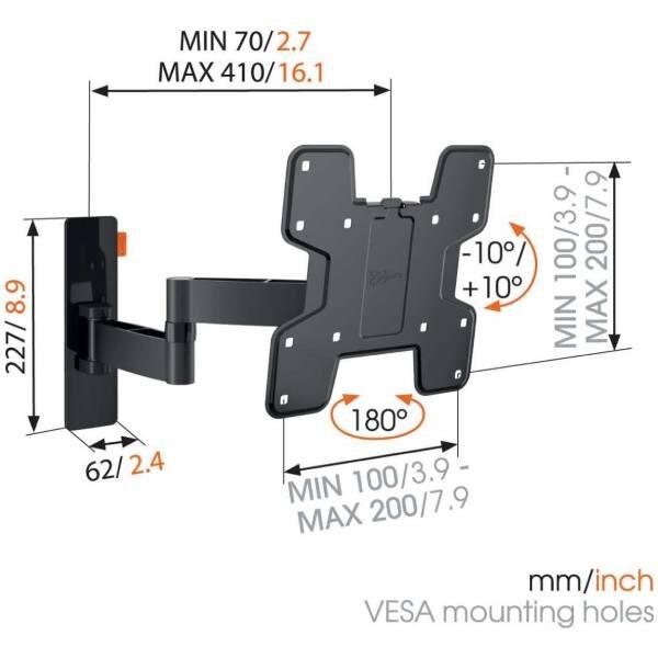 W53060 Βάση Τοίχου Τηλεόρασης με Πλήρης κίνηση (μαύρη) 4