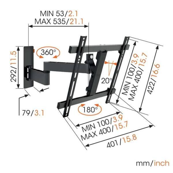 W53070 Βάση Τοίχου Τηλεόρασης Πλήρους κίνησης (μαύρη)1