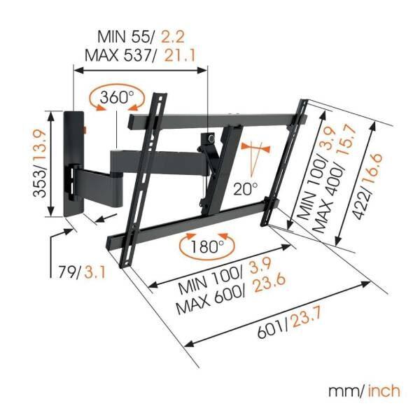 W53080 Μαύρη Βάση Τοίχου Τηλεόρασης Πλήρους κίνησης4