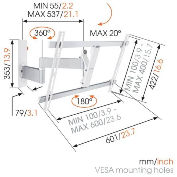 W53081 Άσπρη Βάση Τοίχου Τηλεόρασης Πλήρους κίνησης 4