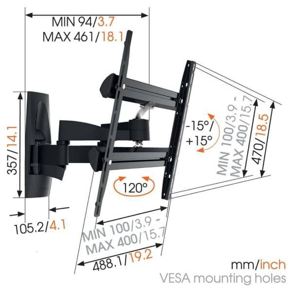WALL 3250 Βάση τοίχου τηλεόρασης Πλήρους Κίνηση6