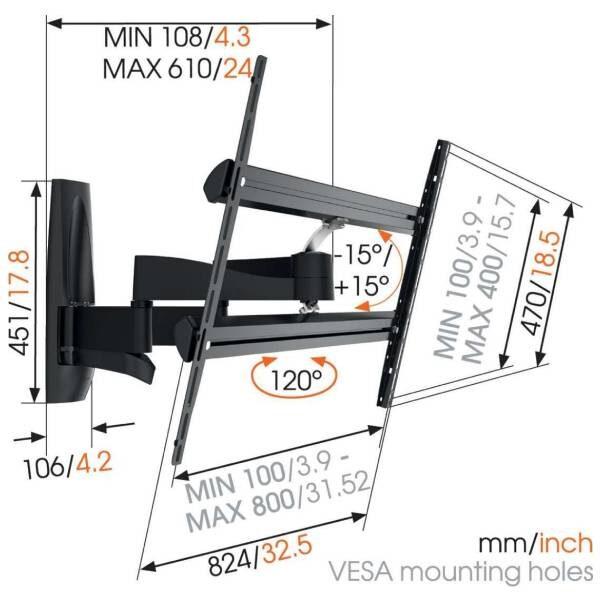 WALL 3450 Βάση τοίχου τηλεόρασης Πλήρους Κίνηση7