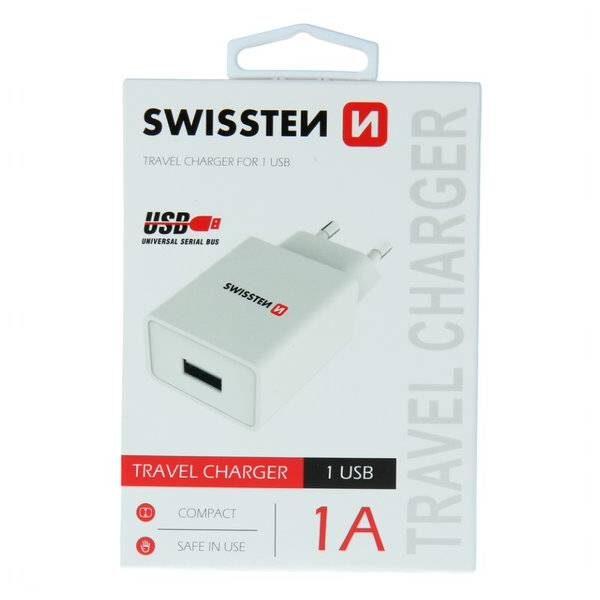 SWISSTEN ΔΙΚΤΥΟ ADAPTER SMART IC 1x USB 1A POWER WHITE1
