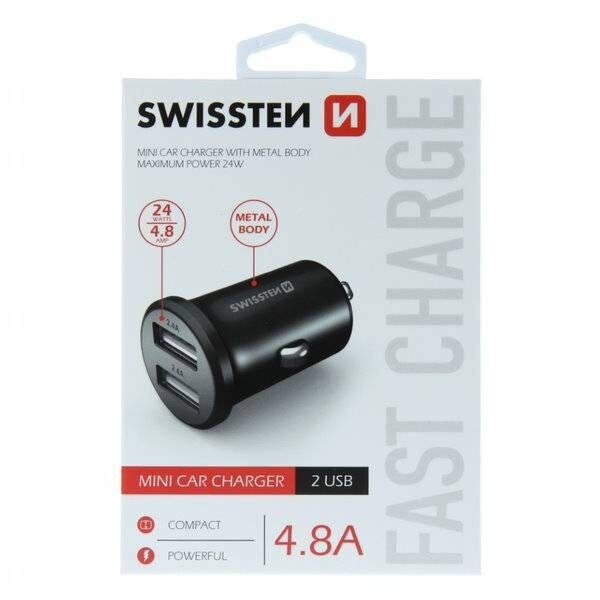 SWISSTEN CAR CHARGER WITH 2x USB 4,8A METAL BLACK2