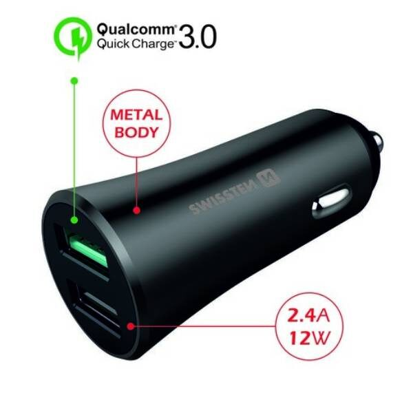 SWISSTEN CL ADAPTER QUICK CHARGE 3.0 + USB 2,4A 30W METAL BLACK2
