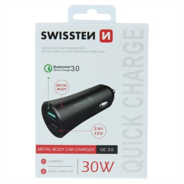 SWISSTEN CL ADAPTER QUICK CHARGE 3.0 + USB 2,4A 30W METAL BLACK3