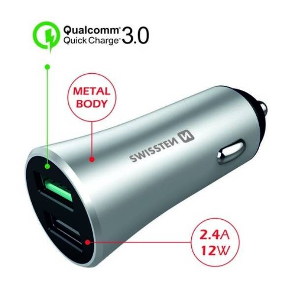 SWISSTEN CL ADAPTER QUICK CHARGE 3.0 + USB 2,4A 30W METAL SILVER2