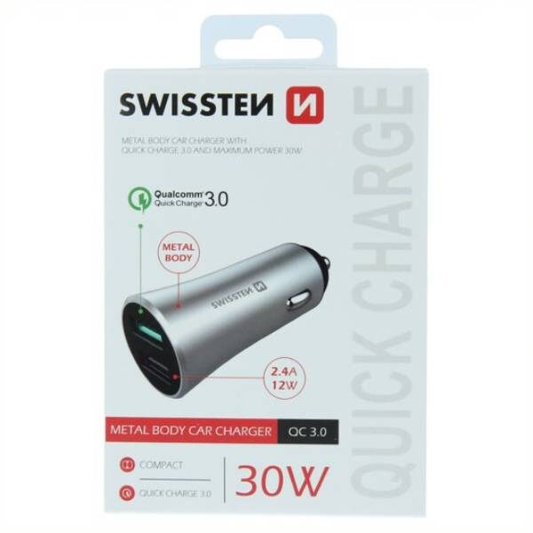 SWISSTEN CL ADAPTER QUICK CHARGE 3.0 + USB 2,4A 30W METAL SILVER3