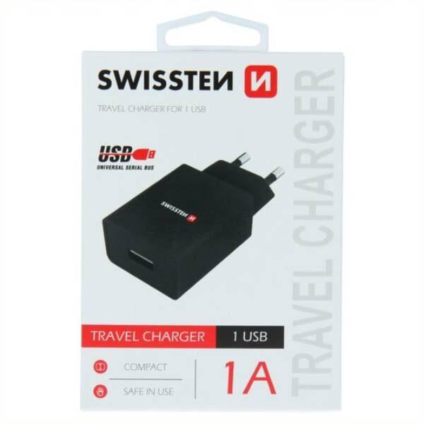 SWISSTEN NETWORK ADAPTER SMART IC 1x USB 1A POWER BLACK