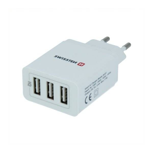 SWISSTEN TRAVEL CHARGER SMART IC WITH 3x USB 3,4A POWER WHITE