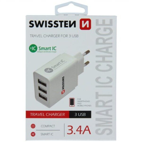 SWISSTEN TRAVEL CHARGER SMART IC WITH 3x USB 3,4A POWER WHITE1
