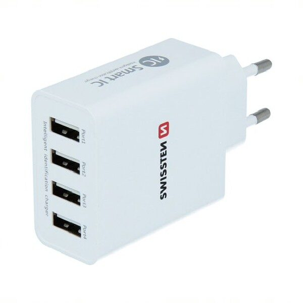 SWISSTEN TRAVEL CHARGER SMART IC WITH 4x USB 5A POWER WHITE