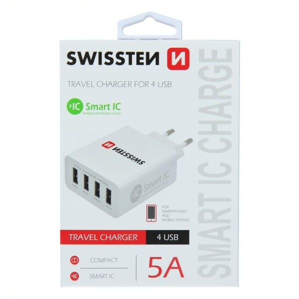 SWISSTEN TRAVEL CHARGER SMART IC WITH 4x USB 5A POWER WHITE1