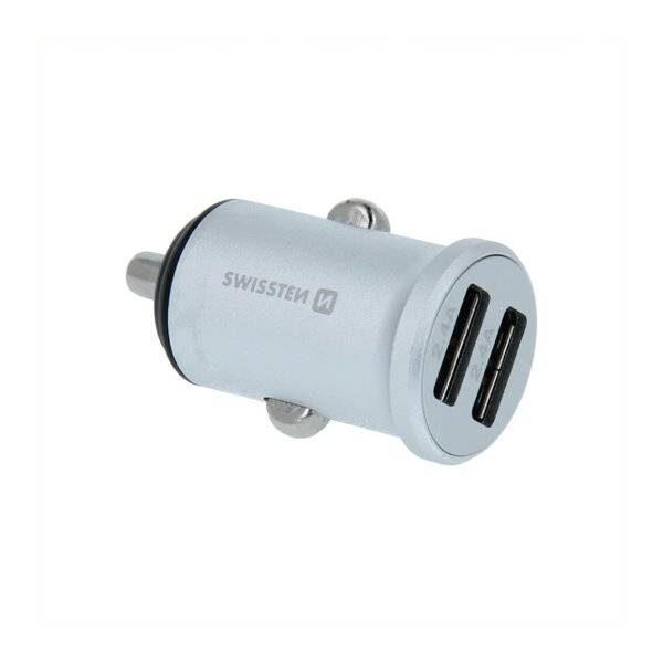 Swissten CL μετασχηματιστής 2x USB 4,8A Μεταλλικό Ασημί