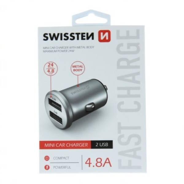 Swissten CL μετασχηματιστής 2x USB 4,8A Μεταλλικό Ασημί2