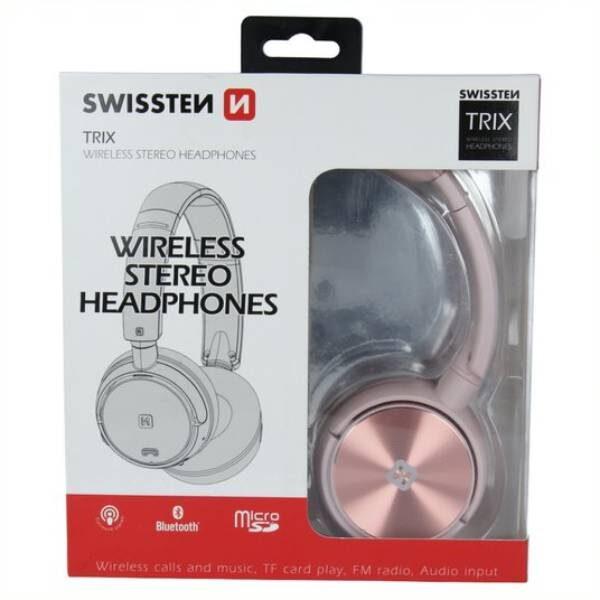 WIRELESS STEREO HAEDPHONES SWISSTEN TRIX PINK
