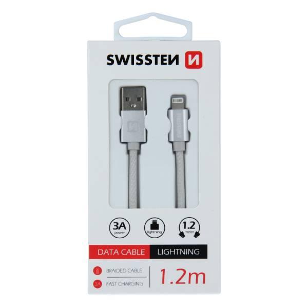 Swissten Καλώδιο Δεδομένων Textile USB Lightning 1.2m Ασημί