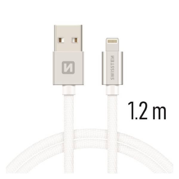 Swissten Καλώδιο Δεδομένων Textile USB Lightning 1.2m Ασημί1
