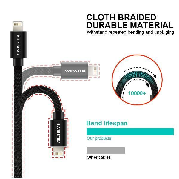 Swissten Καλώδιο Δεδομένων Textile USB Lightning 1.2m