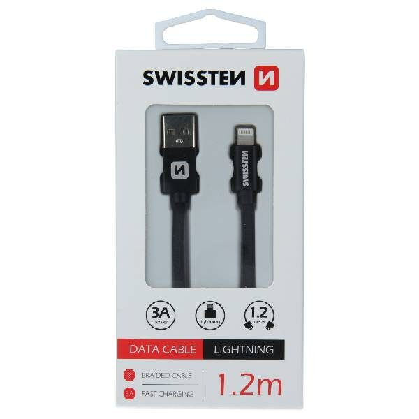 Swissten Καλώδιο Δεδομένων Textile USB Lightning 1.2m Μαύρο