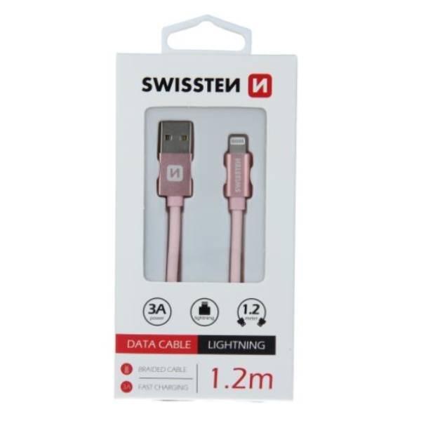 Swissten Καλώδιο Δεδομένων Textile USB Lightning 1.2m ΡοζΧρυσό