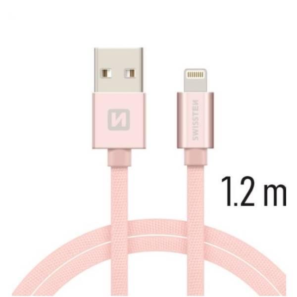Swissten Καλώδιο Δεδομένων Textile USB Lightning 1.2m ΡοζΧρυσό1