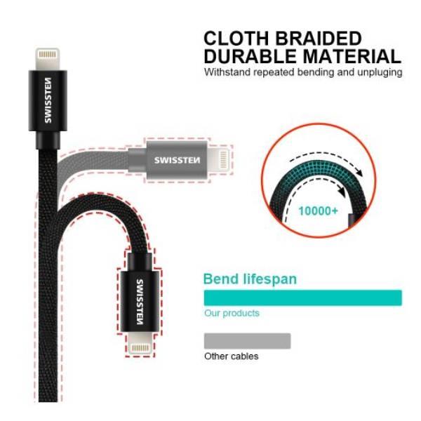 Swissten Καλώδιο Δεδομένων Textile USB Lightning 1.2m ΡοζΧρυσό2