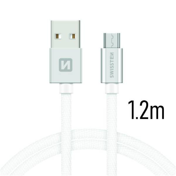 Swissten Καλώδιο Δεδομένων Textile USB MICRO USB 1.2m Ασημί1