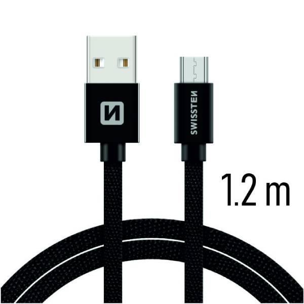 Swissten Καλώδιο Δεδομένων Textile USB MICRO USB 1.2m Μαύρο1