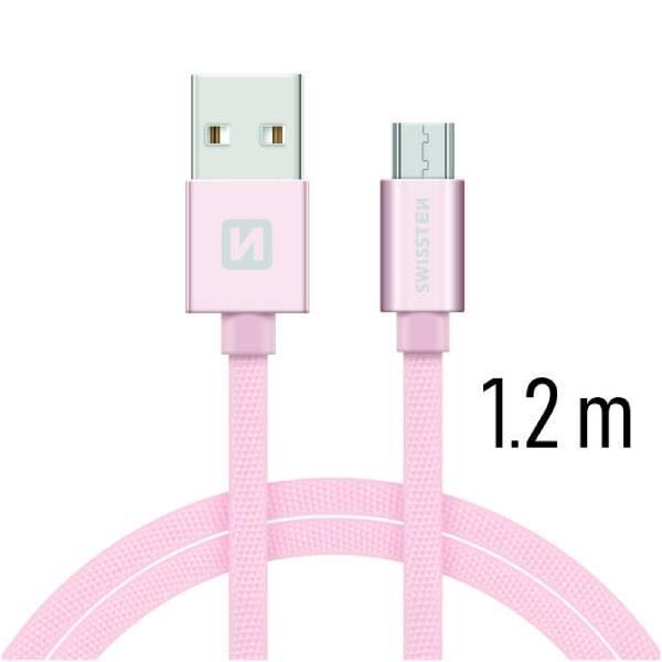 Swissten Καλώδιο Δεδομένων Textile USB MICRO USB 1.2m ΡοζΧρυσό1
