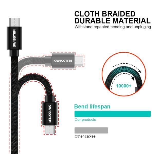 Swissten Καλώδιο Δεδομένων Textile USB MICRO USB 1.2m