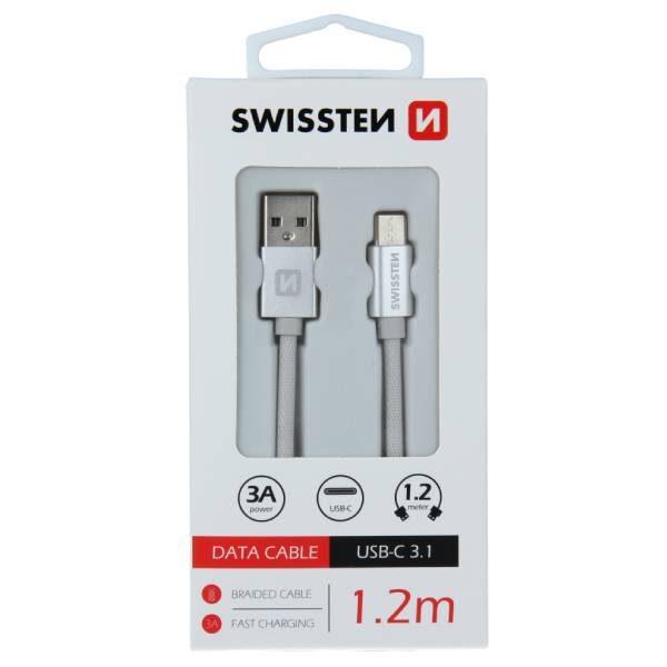 Swissten Καλώδιο Δεδομένων Textile USB USB-C 1.2m Ασημί