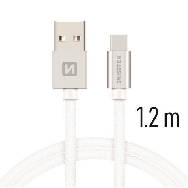 Swissten Καλώδιο Δεδομένων Textile USB USB-C 1.2m Ασημί1