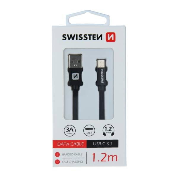 Swissten Καλώδιο Δεδομένων Textile USB USB-C 1.2m Μαύρο