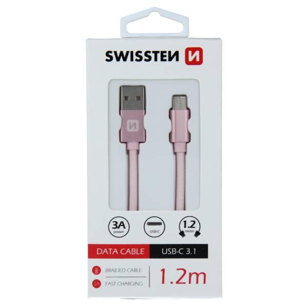 Swissten Καλώδιο Δεδομένων Textile USB USB-C 1.2m Ροζ Χρυσό