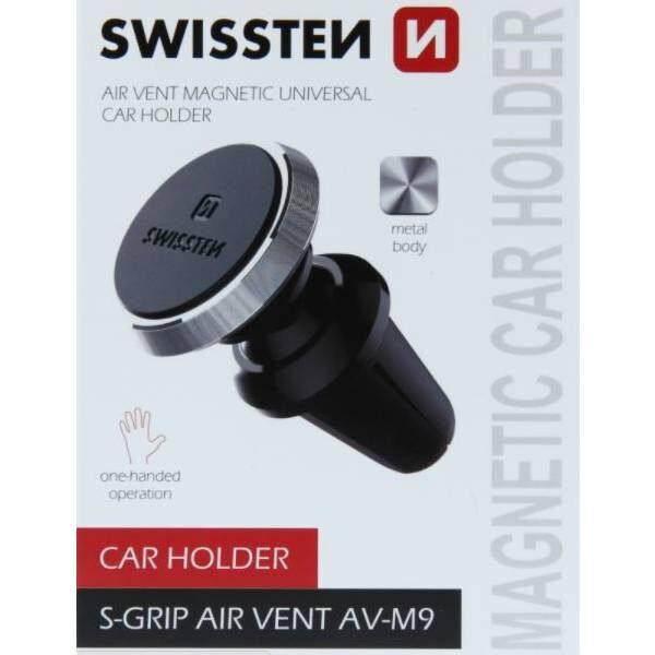 Swissten Μαγνητική Βάση Αυτοκινήτου S-GRIP AIR VENT AV-M9 μαύρη-ασημί