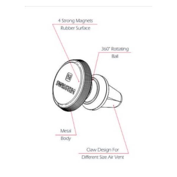 Swissten Μαγνητική Βάση Αυτοκινήτου S-GRIP AIR VENT AV-M9 μαύρη-ασημί3