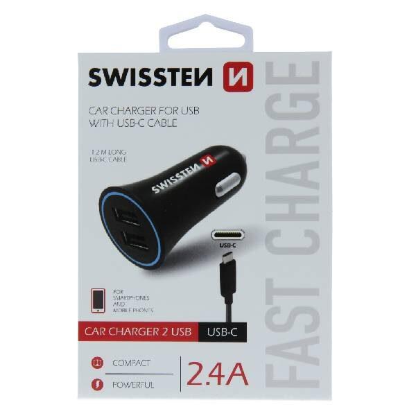 Swissten CL Adapter 2,4A Ισχύος με 2x USB + Καλώδιο USB-C