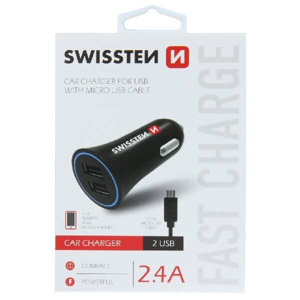 Swissten CL Adapter 2,4A Ισχύος με 2x USB + Καλώδιο micro USB