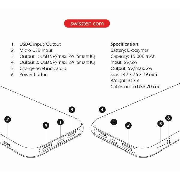 Swissten Ασύρματο Slim Power Bank 15000 mAh με είσοδο USB-C-3