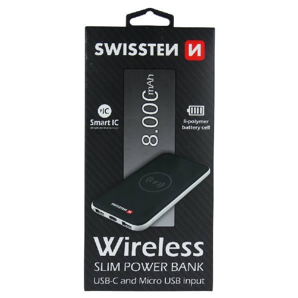 Swissten Ασύρματο Slim Power Bank 8000 mAh με είσοδο USB-C